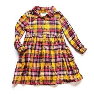 OLD NAVY girls 4t mustard plaid shirt dress